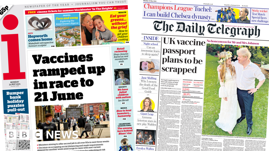 Newspaper headlines: Jabs 'ramped up' and Covid passport 'scrapped'