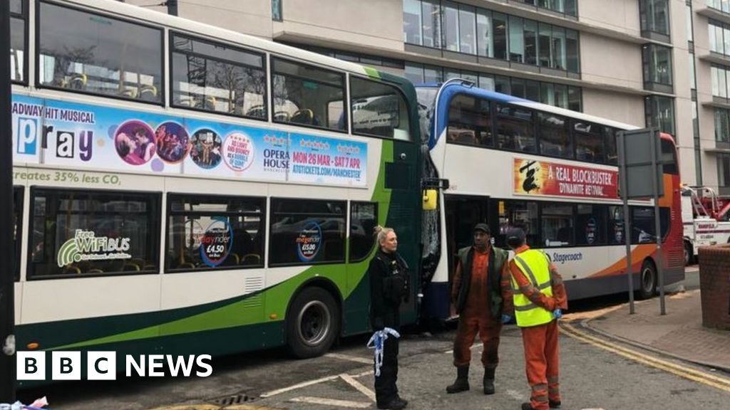 Manchester city centre bus crash leaves passengers hurt