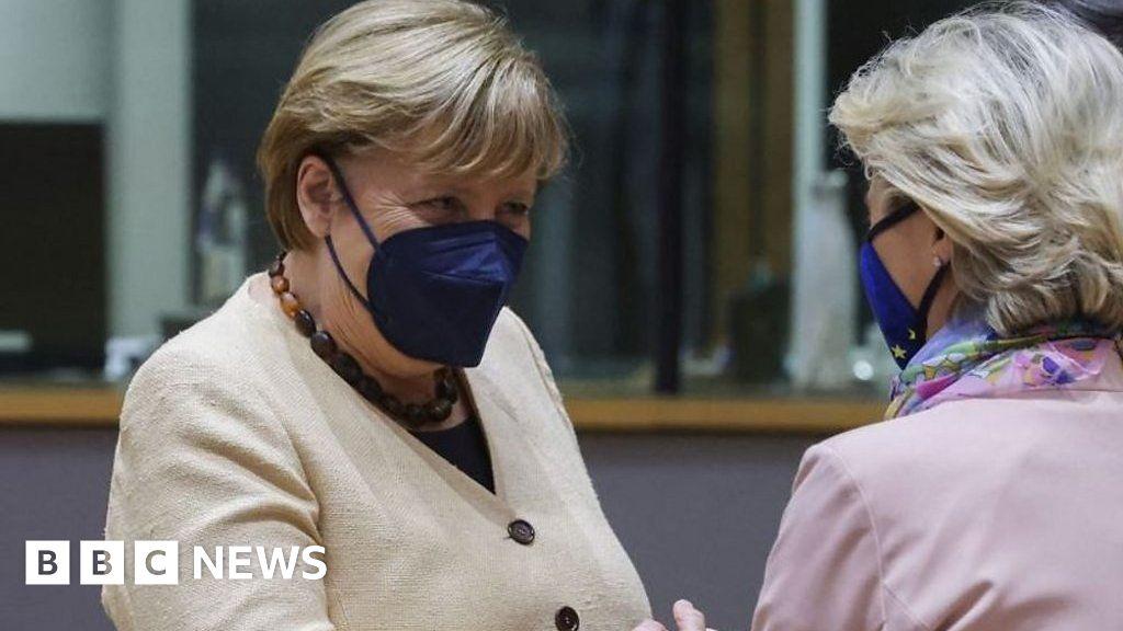 Merkel avoids handshake with EU's von der Leyen