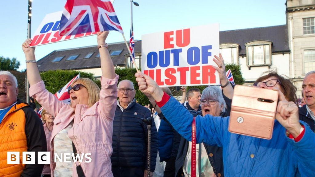 Hundreds gather in Ards to protest Irish Sea border