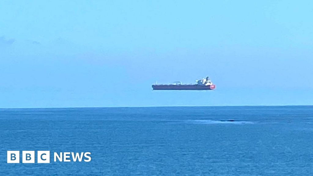 'Floating ship' photographed off Cornish coast by walker