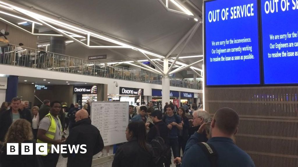 Bristol Airport information boards on the blink - BBC News