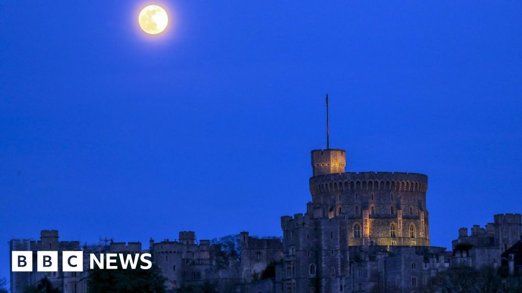 Pink Moon: Europe, lit up by the moon light show