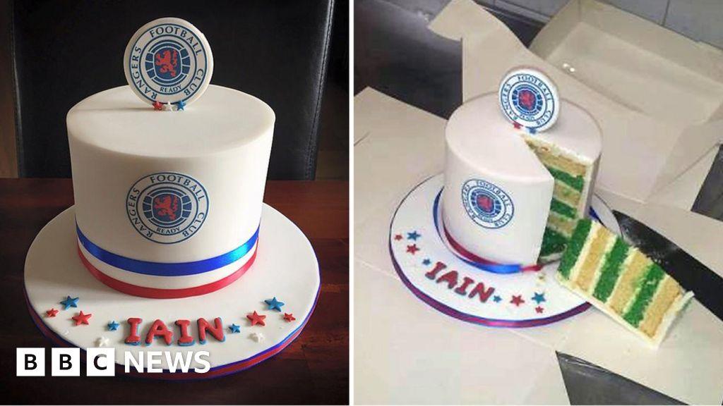 Sensational Prank Rangers Celtic Birthday Cake Is Hit For Baker Bbc News Funny Birthday Cards Online Inifodamsfinfo