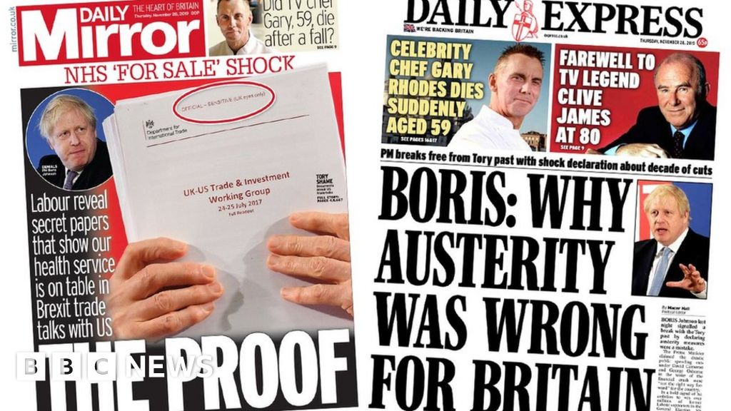 Newspaper headlines:  Proof NHS is for sale  and PM criticises austerity