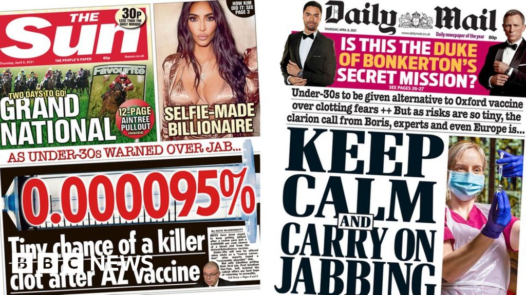 The Papers: Family of clot victim speaks as experts urge jab