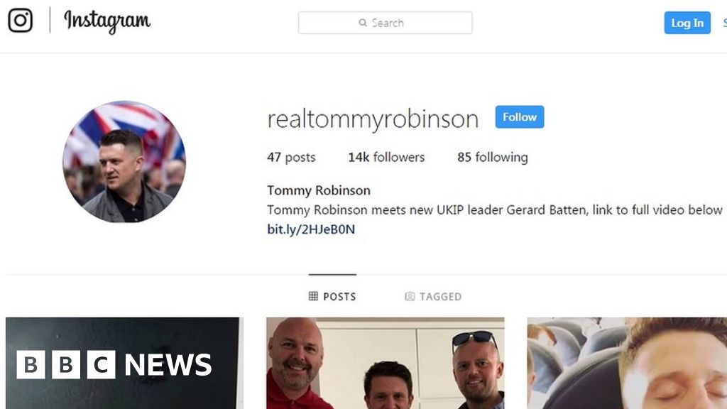Instagram removed Tommy Robinson account 'by mistake'