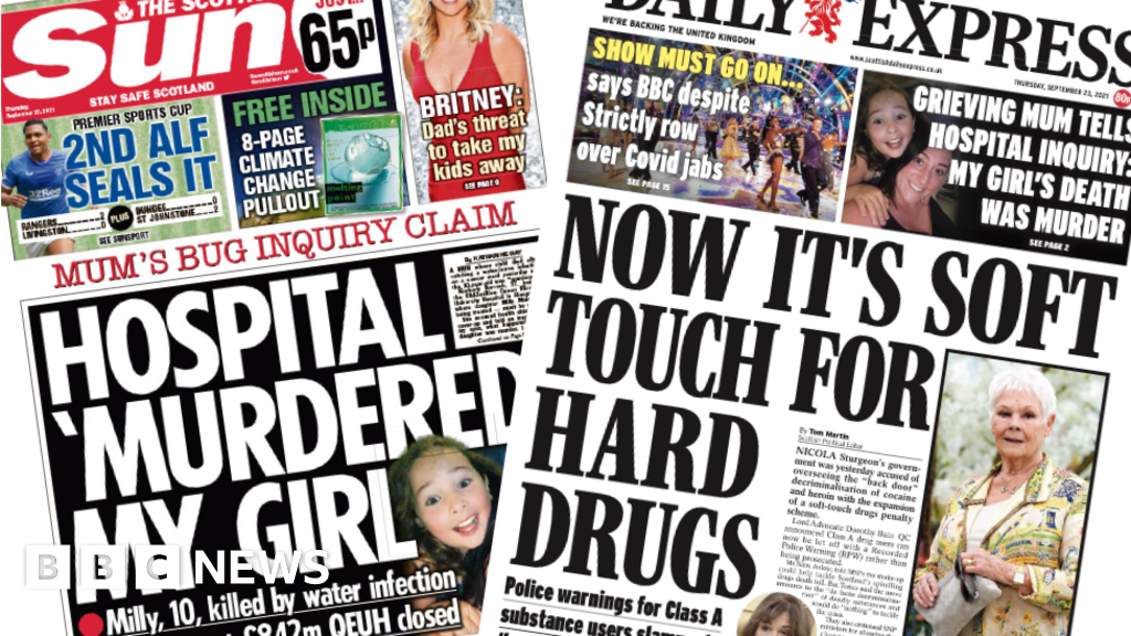 Scotland's papers: Mum's anguish over Milly and drug rethink