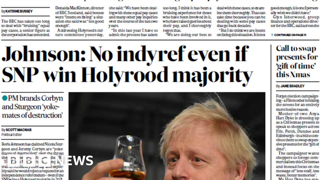 Scotland's papers: Boris Johnson vows to block indyref2 thumbnail