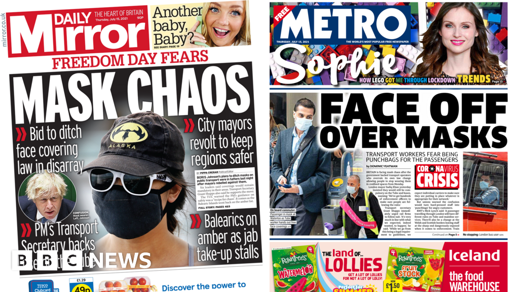 Newspaper headlines: 'Mask chaos' and UK set to 'sizzle' in heatwave