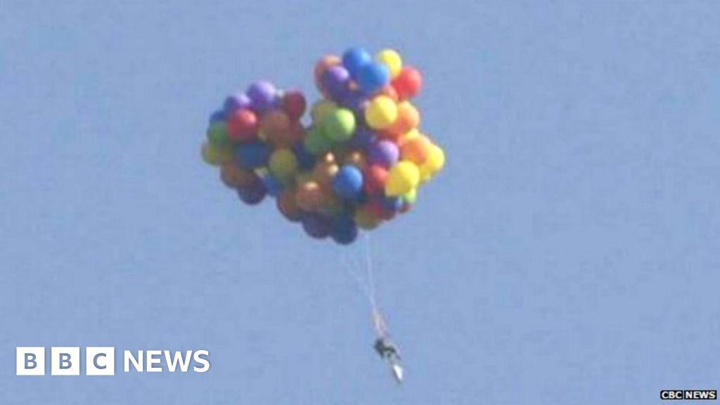 CBC News caught Daniel Boria on camera, drifting through the air on his  floating chair