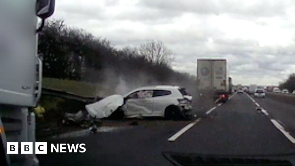 M1 Milton Keynes: 'Amazing' escape from lorry and car crash