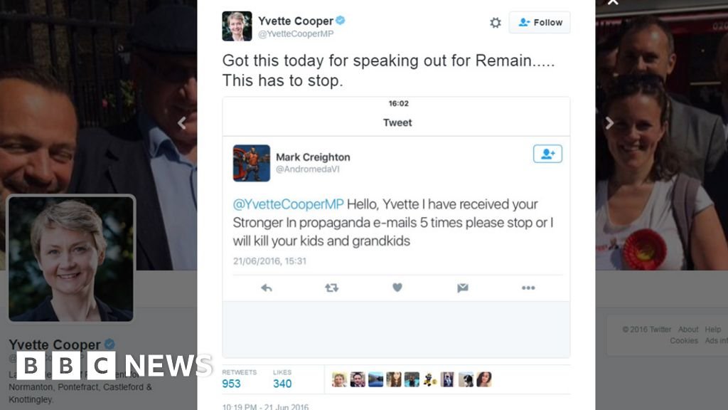 Bbc News Twitter: Labour MP Yvette Cooper Contacts Police After Twitter
