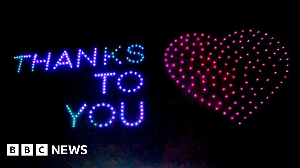 Coronavirus: Drone display says 'thanks' to key workers