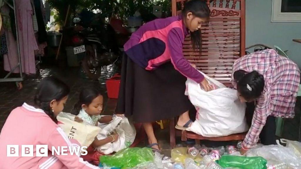 BBC News - Cambodia's 'Rubbish School' where kids pay with plastic