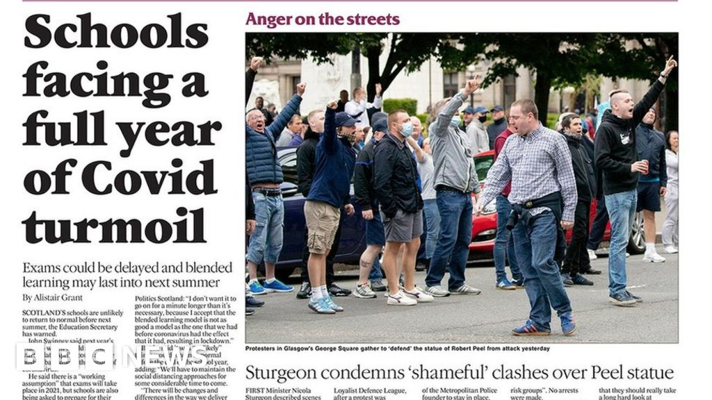Scotland's papers: 'Shameful' street clashes and school turmoil thumbnail