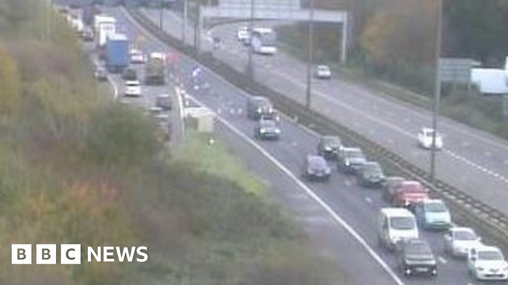 Drivers go wrong way on M5 to avoid accident queue