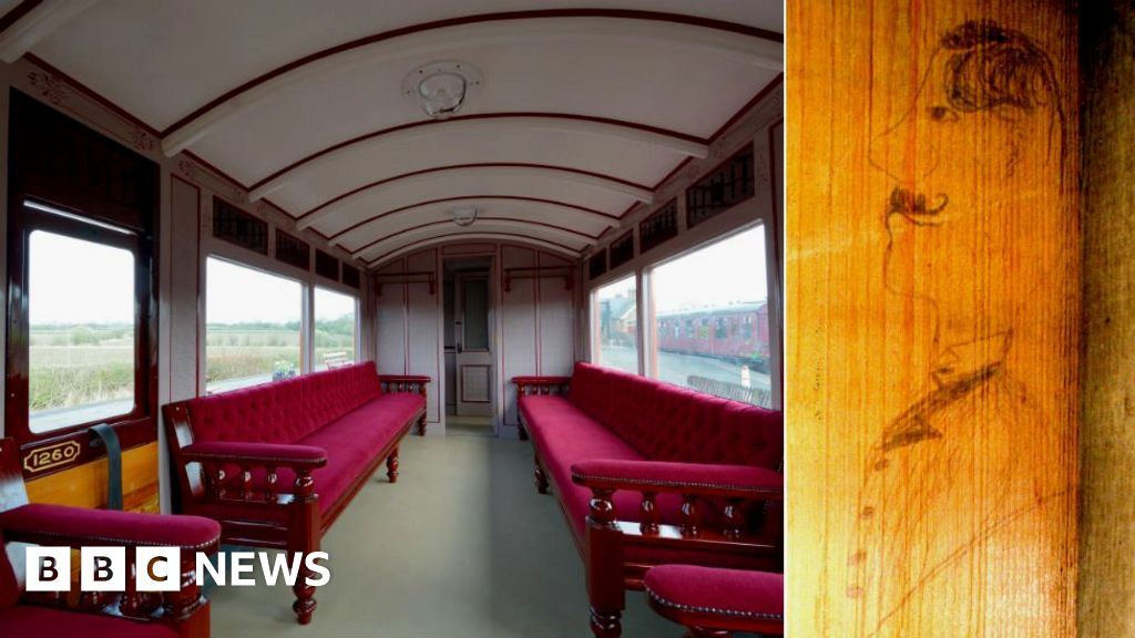 Restored carriage with (inset) the sketch of a Victorian man