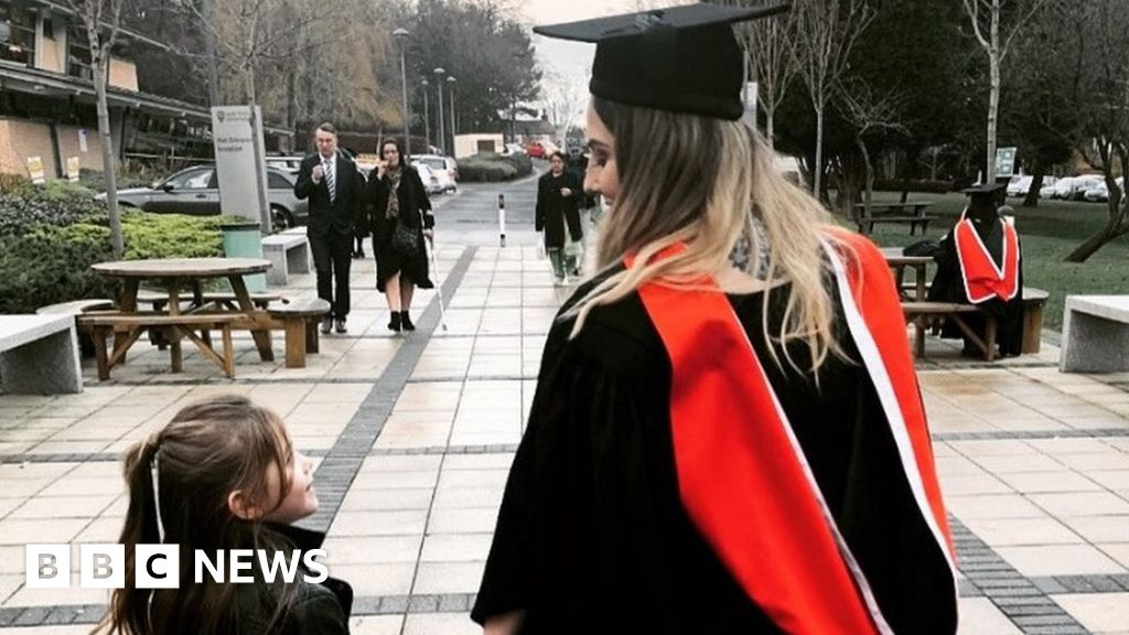 Mum who gave birth at 15 graduates with daughter watching on