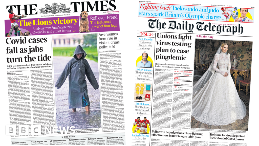 Newspaper headlines: Cases fall as jabs turn tide and unions fight testing plan
