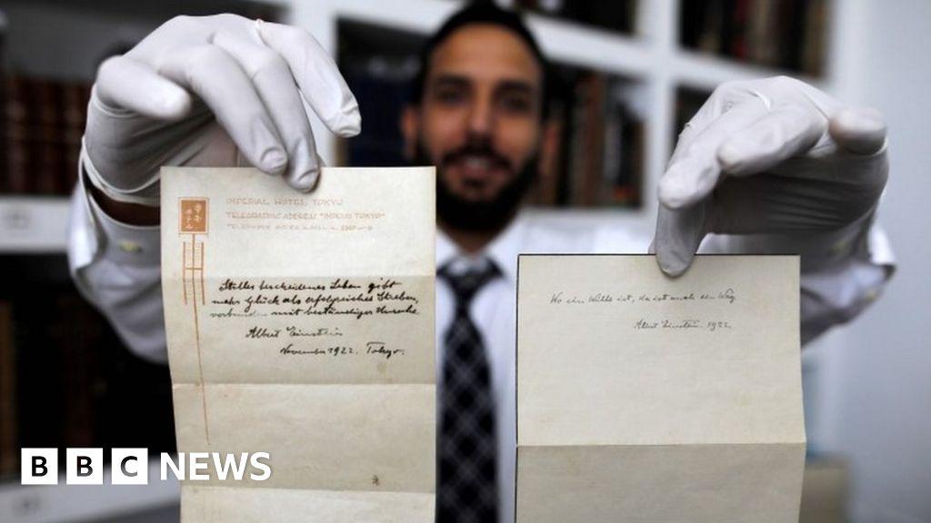 Albert Einsteins Happiness Note Sold For 16m Bbc News