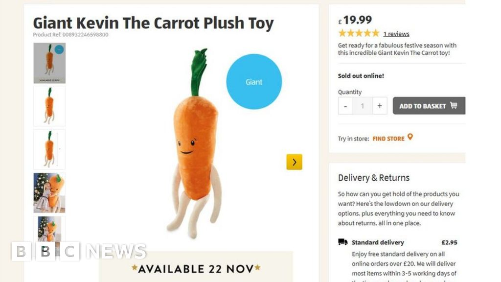 aldi 39 s kevin the carrot toy ad causes chaos and queues. Black Bedroom Furniture Sets. Home Design Ideas