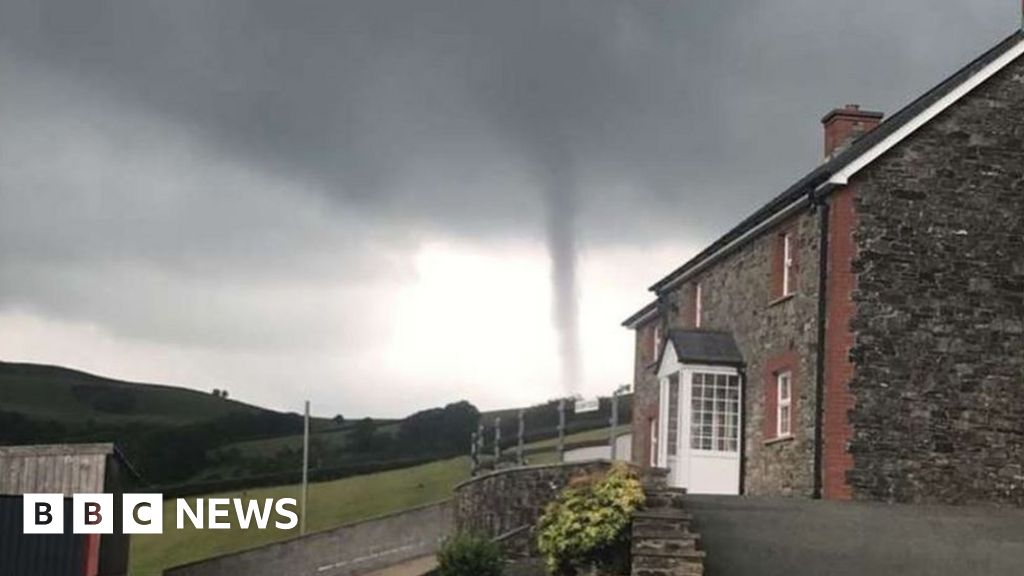 Tornado caught on camera in two counties in Wales