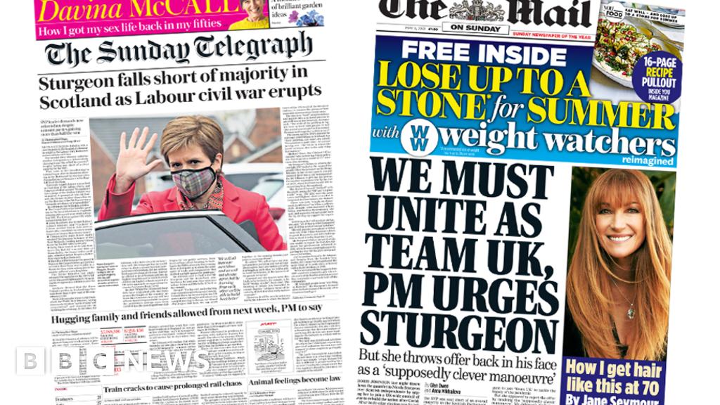 Newspaper headlines: Labour's 'civil war', and PM wants UK to 'unite'