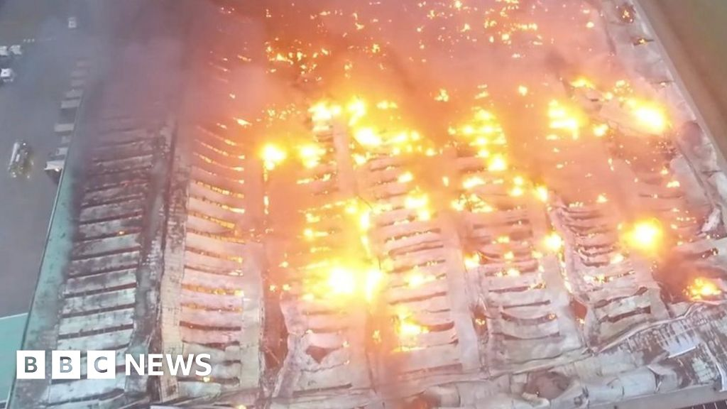 Drone shows extent of warehouse fire