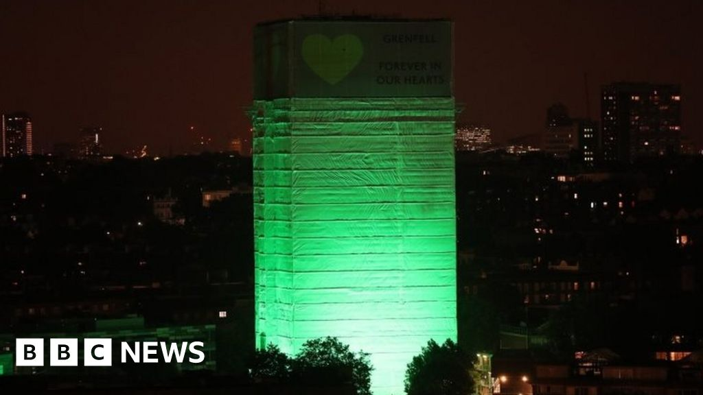 Grenfell Tower lit green a year after fire