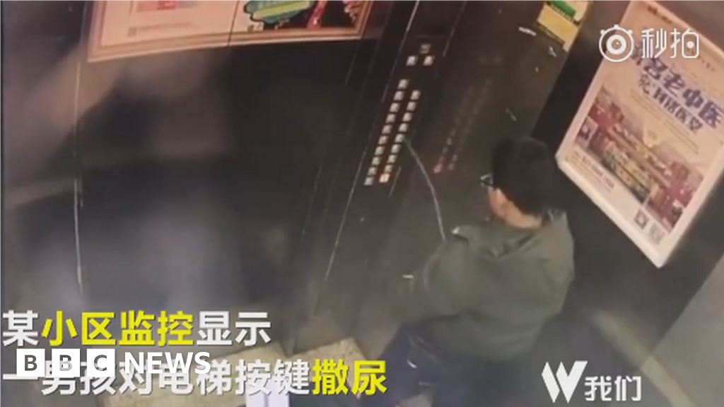 China warns parents after boy filmed peeing in lift