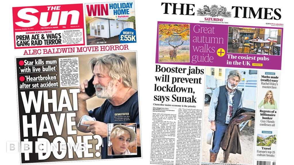 Newspaper headlines: 'Hollywood horror' and 'sluggish booster jab campaign'