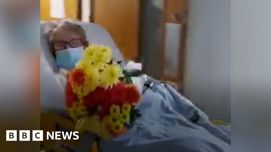 Coronavirus survivor, 94, handed flowers by Clacton Hospital staff