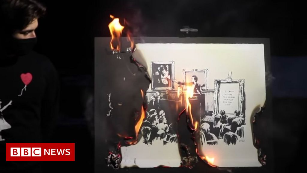 Banksy art burned, destroyed and sold as token in 'money-making stunt'