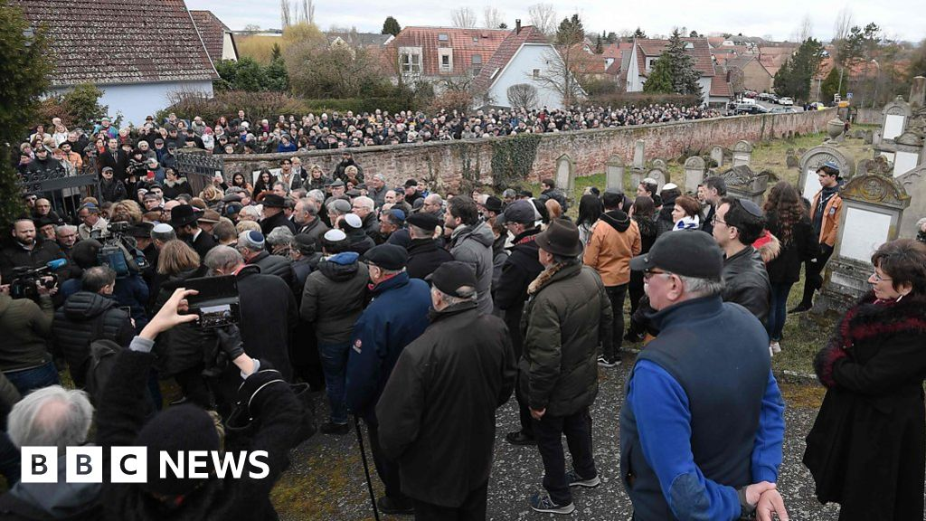Anti-Semitism protest at desecrated cemetery