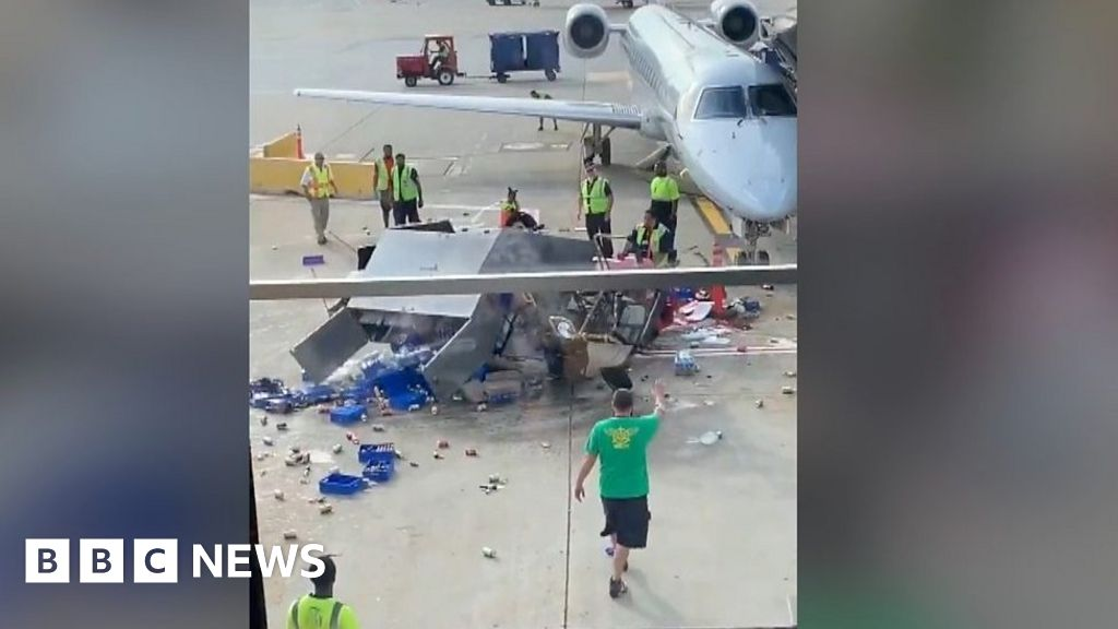 Catering truck spins out of control at airport