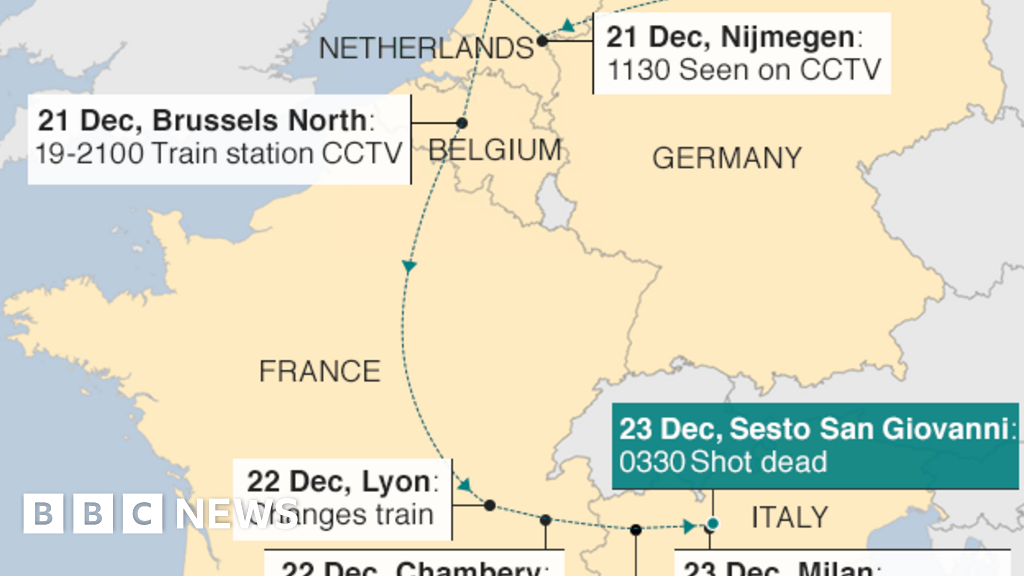 Map Of Italy Train Stations.Berlin Market Attack How Did Anis Amri Escape Bbc News