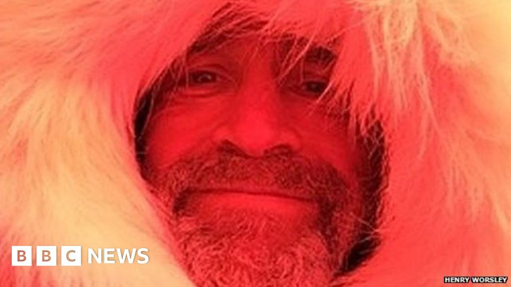 Henry Worsley - pictured earlier in his trip - posted a message saying he  had run out of physical endurance