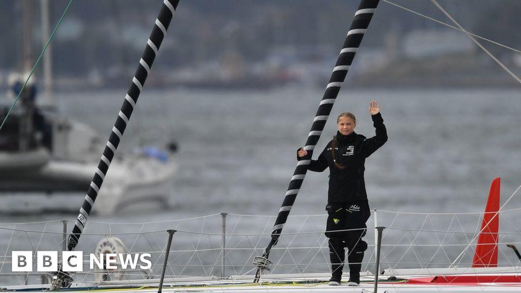 Greta Thunberg begins sea voyage to UN summit