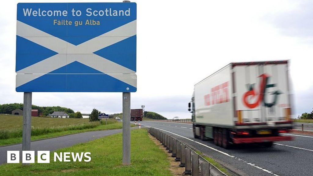 Scotland-England border sign