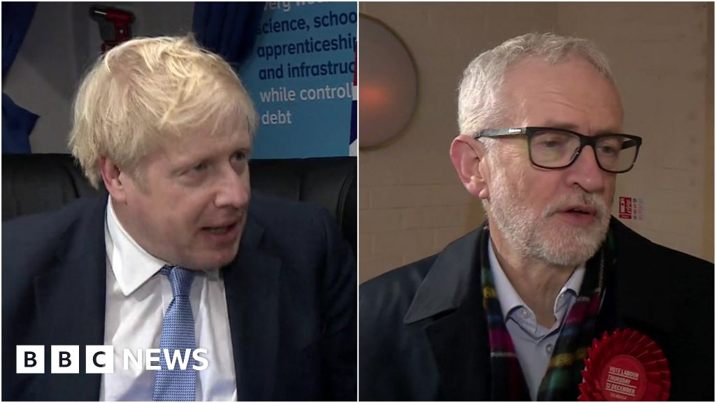 General election 2019: Boris Johnson and Jeremy Corbyn make last pitches of campaign - BBC News