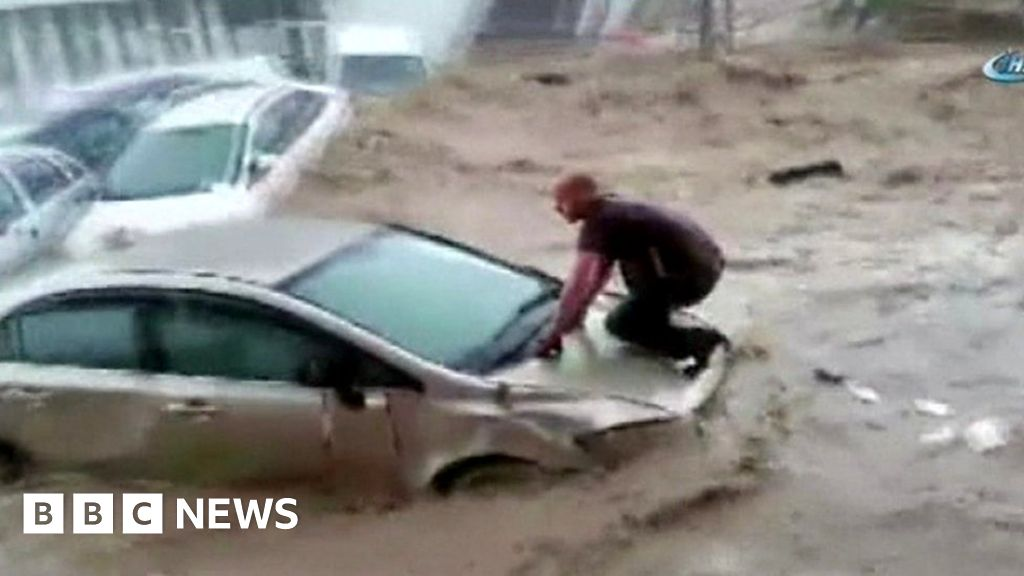 Cars swept away in Turkey floods