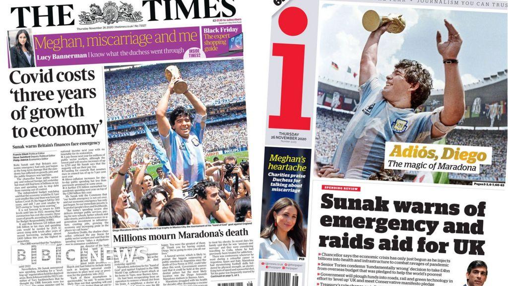 Newspaper headlines: Maradona in 'hands of God' and economic 'emergency'
