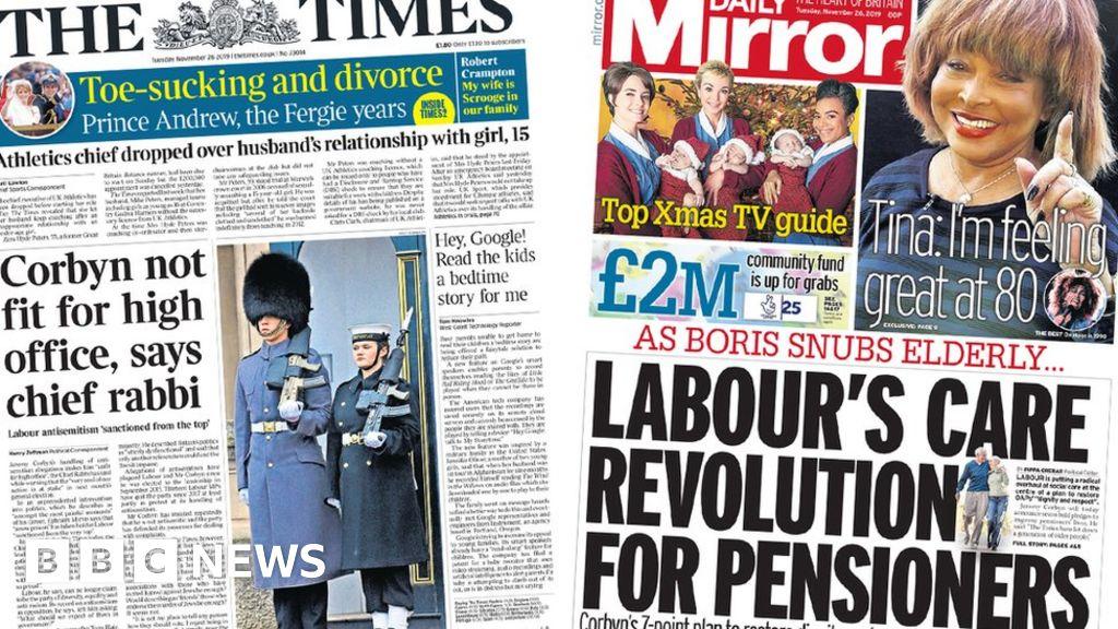 Newspaper headlines: Chief Rabbi s Corbyn warning and care  revolution