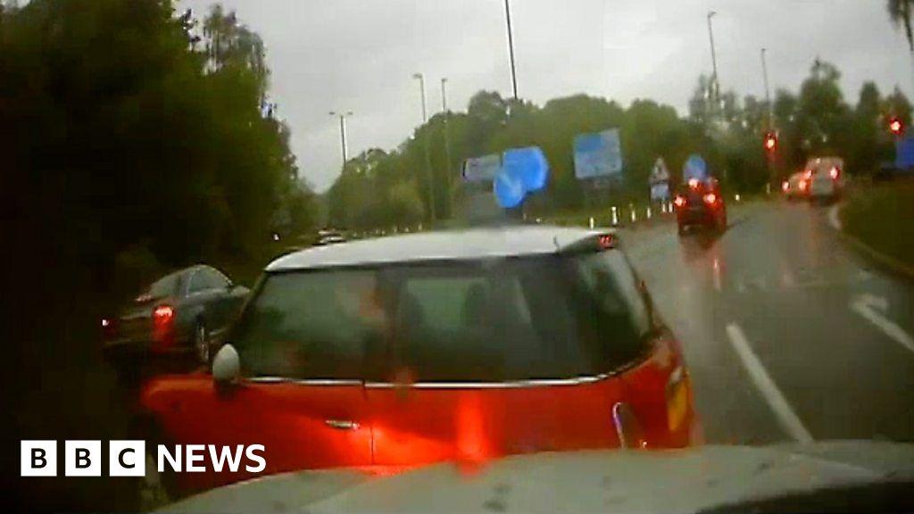 Speeding car caught on camera in police pursuit