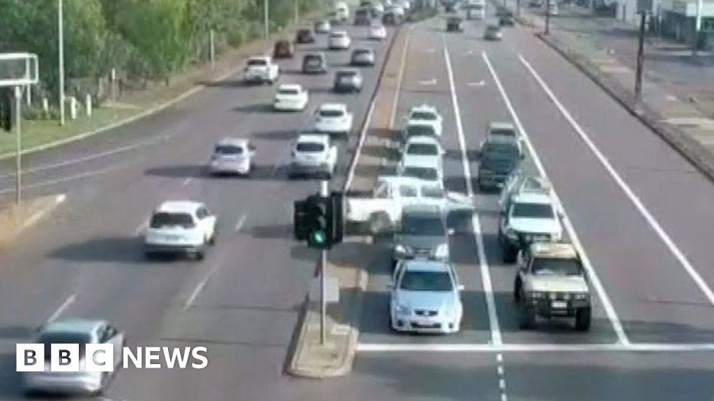 Footage captures car careering across eight lanes