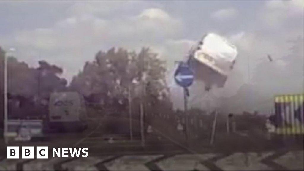 e9cd58ac5c Van launched into the air during Attleborough crash - BBC News