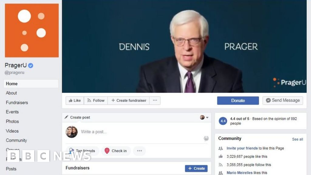 Facebook apologises for blocking Prager University's videos