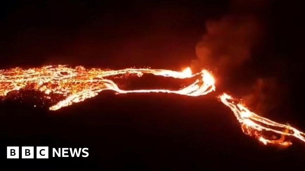A volcano erupts near the Icelandic capital Reykjavik