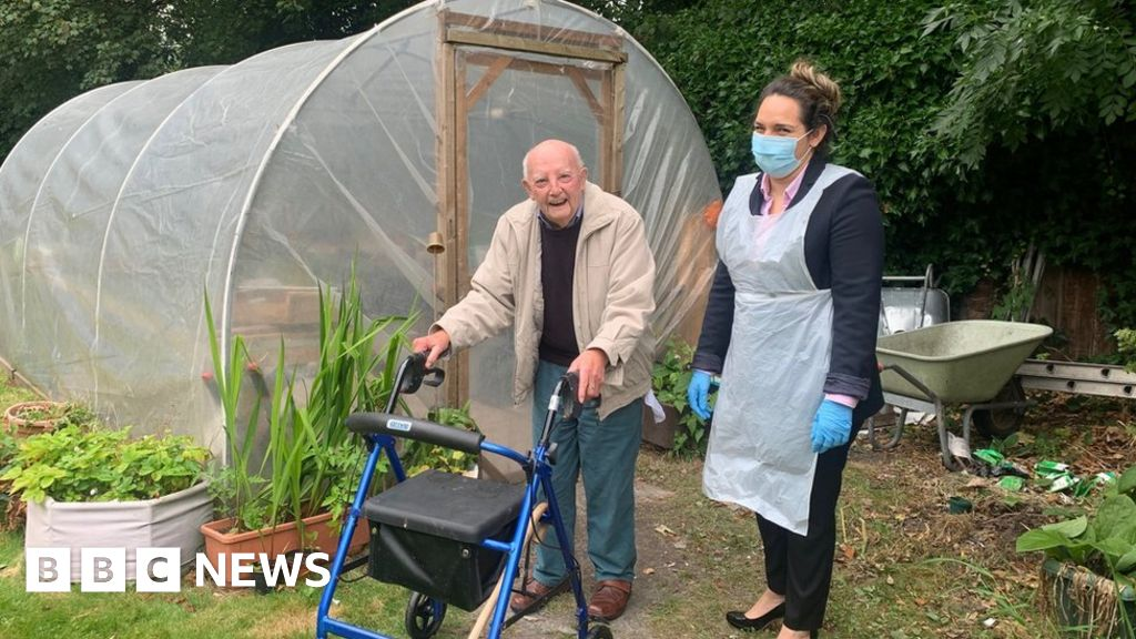 Bill Bosson in the garden of his care home